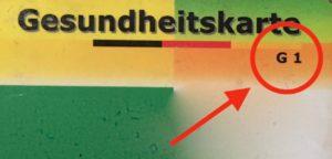 """Gesundheitskarte """"G1"""" der ersten Generation"""