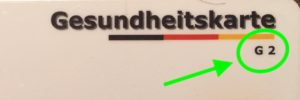 "gültige Gesundheitskarte ""G2"""